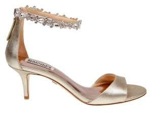 Badgley Mischka Geranium Metallic Leather Open Toe Sandals