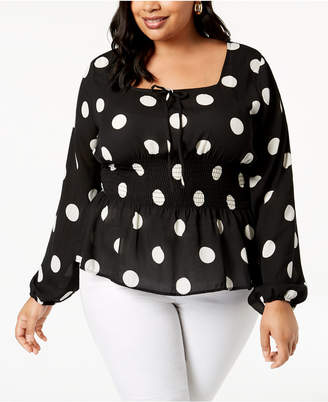 Planet Gold Trendy Plus Size Smocked Dot Top