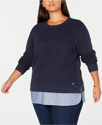 e8ffbbcb08232 Tommy Hilfiger Plus Size Cotton Layered-Look Sweater