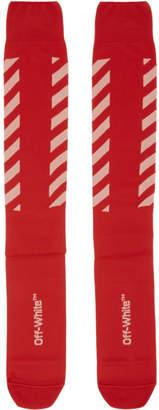 Off-White Red Diagonal Long Socks