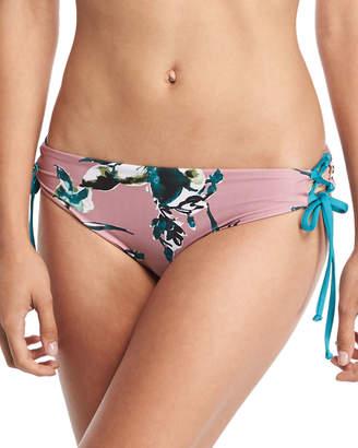 Splendid Watercolor Floral-Print Lace-Sides Swim Bikini Bottoms