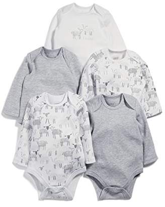 Mamas and Papas Baby Pack of 5 Sheep Long Sleeved Bodysuit,(Manufacturer Size: New Born) Pack of 5