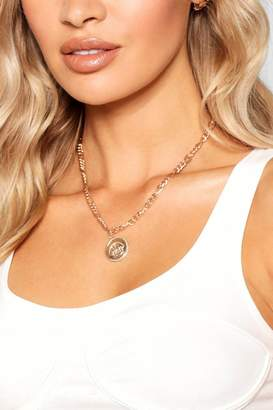 boohoo Crown Coin Chunky Chain Necklace