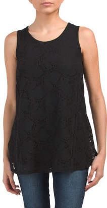 Lace Scoop Neck Tunic Top