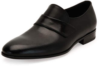 Salvatore Ferragamo Micro-Perforated Calfskin Leather Loafer, Black