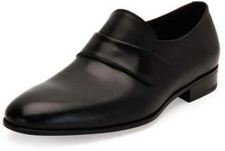 Salvatore Ferragamo Micro-Perforated Calfskin Leather Loafer, Black