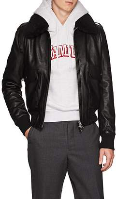 Ami Alexandre Mattiussi Men's G1 Shearling-Trimmed Leather Bomber Jacket