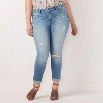 Lauren Conrad Plus Size Cuffed Skinny Ankle Jeans