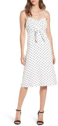 --- Stripe Tie Front Midi Dress