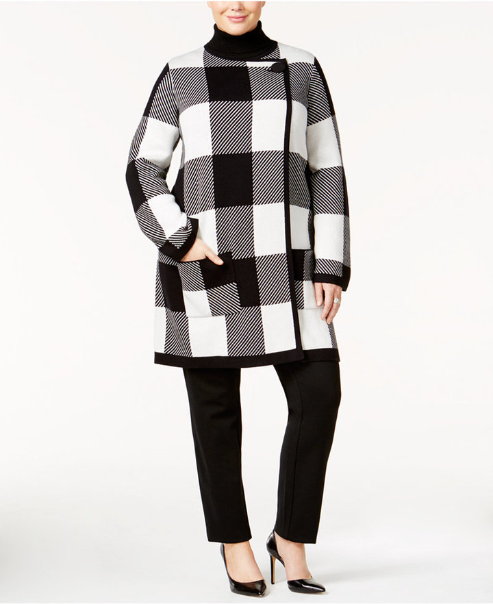 AlfaniAlfani Plus Size Plaid Sweater Coat, Only at Macy's