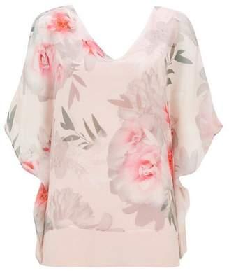 Wallis Pink Floral Print Layered Top