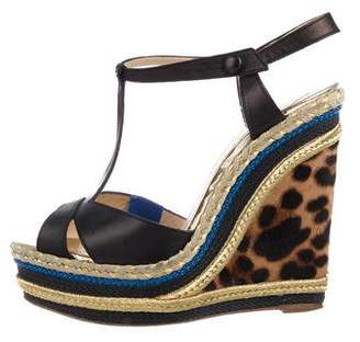 Christian Louboutin Leather Platform Wedge Sandals