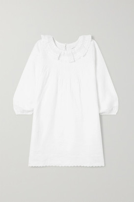 DÔEN Kids - Mini Georgia Ruffled Lace-trimmed Pintucked Ramie Dress - White
