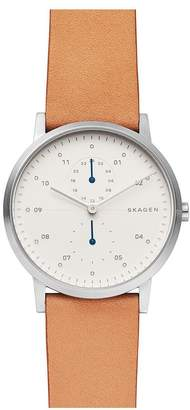 Silver And Blue Detail Brown Leather Strap Mens Watch