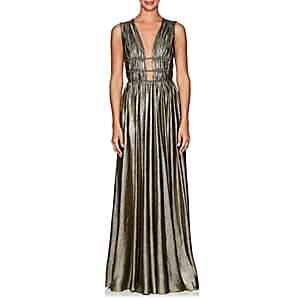 Alberta Ferretti Women's Silk-Blend Lamé Gown - Gold