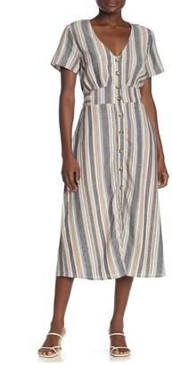 Cotton On Cherry Striped Button Linen Blend Midi Dress