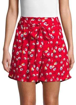 Lea & Viola Tie-Front Printed Shorts