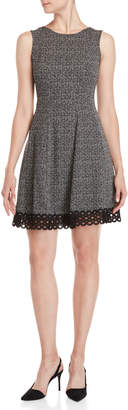 Donna Ricco Printed Lace Hem Fit & Flare Dress
