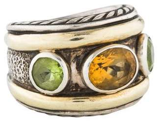 David Yurman Citrine & Peridot Three Stone Renaissance Ring