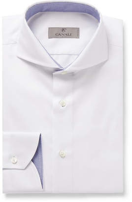 Canali White Cutaway-Collar Checked Cotton-Jacquard Shirt - Men - White