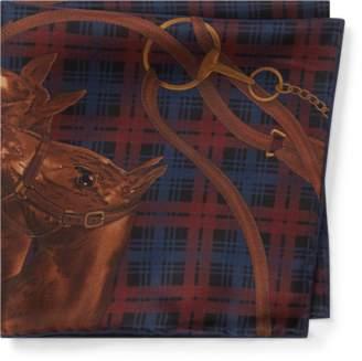 Ralph Lauren Horse Plaid Silk Pocket Square