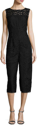 St. John Collection Embroidered Lace Cropped Jumpsuit, Black $1,295 thestylecure.com