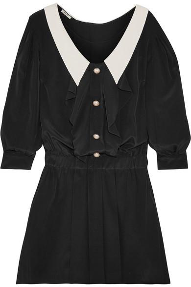 Miu MiuMiu Miu - Embellished Two-tone Pleated Satin Mini Dress - Black