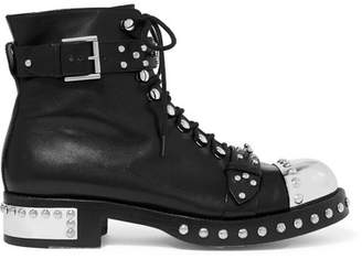 Alexander McQueen Hobnail Studded Leather Ankle Boots - Black