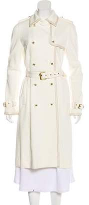 Tory Burch Leather-Trimmed Long Coat