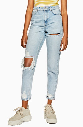 Topshop Willow Rip Moto Mom Jeans