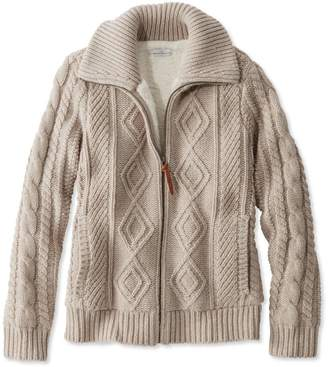 L.L. Bean L.L.Bean Signature Lined Fisherman Sweater Jacket