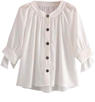 Goodnight Macaroon 'Mayan' Button Front Tied Sleeve Blouse