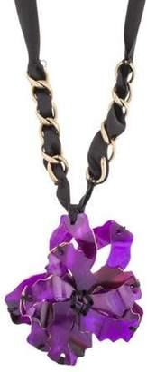 Marni Horn Flower Collar Necklace Brass Horn Flower Collar Necklace