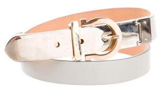 Salvatore Ferragamo Skinny Leather Gancini Belt