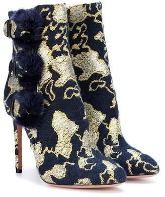 Aquazzura Exclusive to mytheresa.com – Sinatra 105 fur-trimmed brocade ankle boots