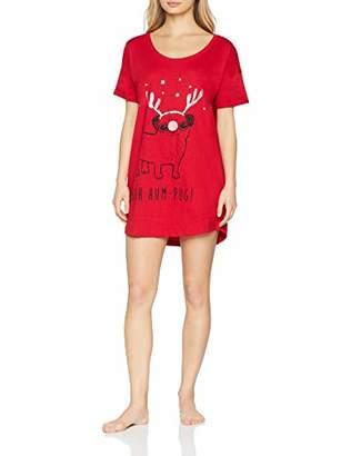 Boux Avenue Women's BAH HUM-Pug Sleep TEE Nightie, (Red Mix Rx), Small (Size: S)