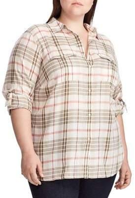 Lauren Ralph Lauren Plus Relaxed-Fit Plaid Cotton Shirt