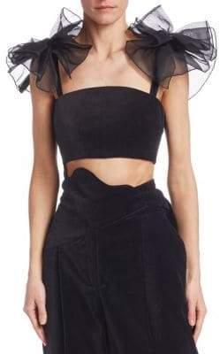Rosie Assoulin Tulle Shoulder Velvet Bralette