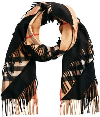 Burberry classic check cashmere scarf with fringing