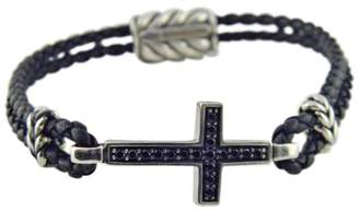 David Yurman Sterling Silver & Leather with Black Diamonds Cross Bracelet