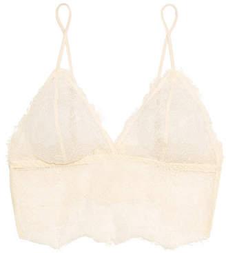 Anine Bing Stretch-lace Soft-cup Bra - Ecru