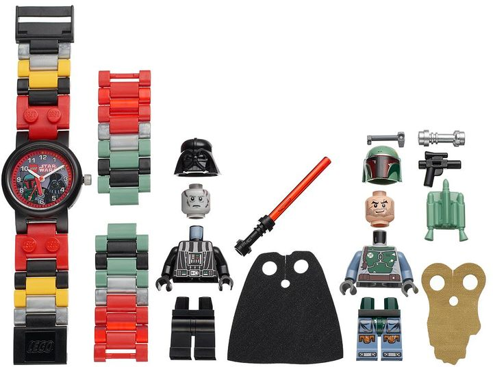 LEGO Kids' Star Wars Darth Vader & Boba Fett Minifigure Interchangeable Watch Set