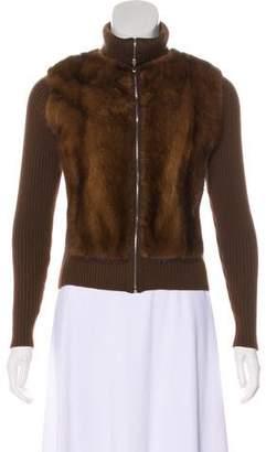 Barneys New York Barney's New York Fur-Trimmed Wool Cardigan