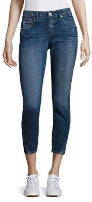 Amo Twist Cropped Dark Wash Skinny Jeans