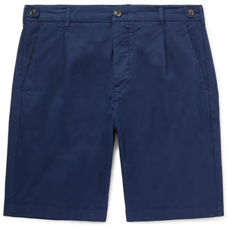 Tod's Slim-Fit Pleated Garment-Dyed Cotton-Blend Shorts