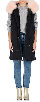 Mr & Mrs Italy Women's Embellished Fur-Trimmed Denim Long Vest