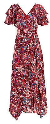 Tanya Taylor Women's Clementine Tiered Ruffle Print Silk Maxi Dress