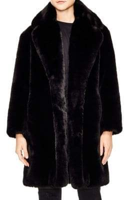 Sandro Ballote Oversized Faux Fur Coat