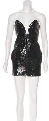 Saint Laurent Sequined Strapless Dress