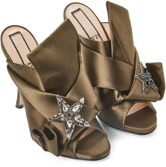 No.21 No. 21 Military Green Embellished Satin Bow Mules Pumps